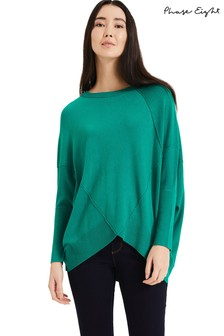 Phase Eight Green Ottelie Exposed Seam Knit