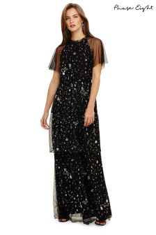 Phase Eight Black Fleurette Sequin Tiered Maxi Dress