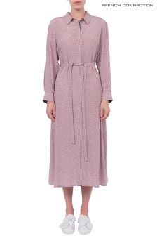French Connection Rose Petal Pink Elao Drape Long Shirt Dress
