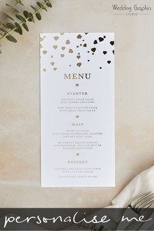 Personalised Confetti Foil Menu by Wedding Graphics