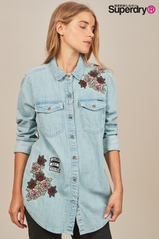 Superdry Oversize Denim Floral Shirt