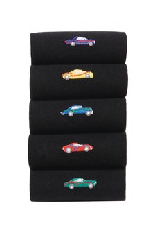 Car Embroidery Socks Five Pack