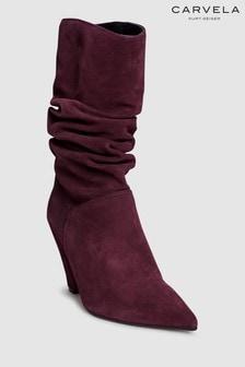 מגפיים באורך בינוני מזמש של Carvela דגם Scrunch בצבע יין