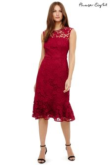 Phase Eight Magenta Sabby Open Lace Dress