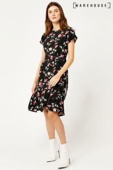 Warehouse Black Constantine Floral Peplum Midi Dress