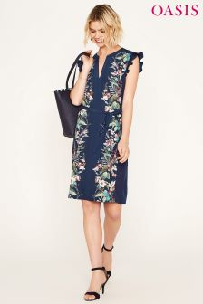 Oasis Blue Caron Ruffle Shirt Dress