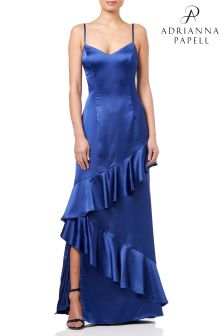 Adrianna Papell Blue Ruffled Satin Gown