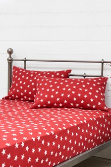 Brushed Cotton Stars Pillowcase And Fitted Sheet Set