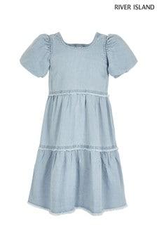 River Island Blue Denim Smock Dress