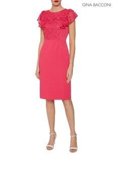 Gina Bacconi Pink Brandi Moss Crepe Dress