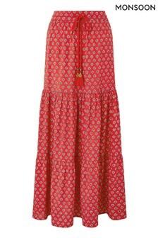 Monsoon Red Ishani Print Sustainable Viscose Skirt