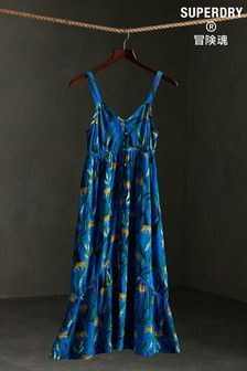 Superdry Blue All Over Print Daisy Midi Dress