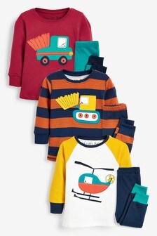 Kuschelige Pyjamas mit Streifen und Transportmittel-Motiven, 3er-Pack (9Monate bis 8Jahre)