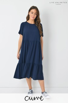 Live Unlimited Curve Navy Viscose Midi Dress