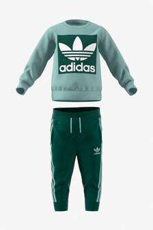 adidas Originals Infant Green Crew And Joggers Set