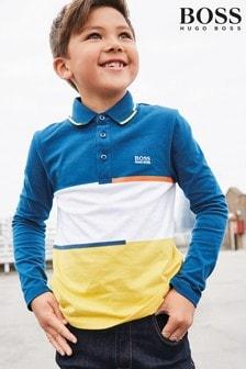BOSS Navy/Yellow Colourblock Long Sleeve Polo