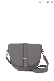 Mint Velvet Grey Lianna Grey Ring Saddle Bag