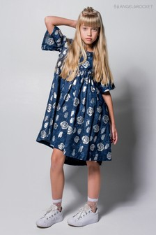 Angel & Rocket Blue Foil Print Rose Dress