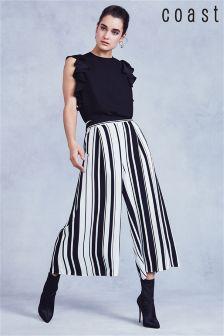 Czarne szerokie spodnie do połowy łydki w paski Coast Mono Demi