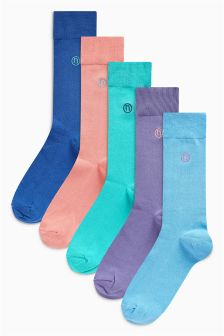 Lot de cinq paires de chaussettes brodées