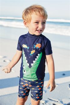 2-teilige Sonnenschutzbekleidung mit Krokodil-Applikatioon (3 Monate bis 6 Jahre)