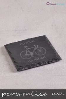 Personalised Keep Rolling Slate Coaster by Loveabode