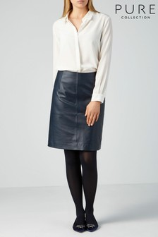 Pure Collection Blue Leather A-Line Skirt