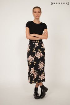 Warehouse Black Sia Floral Printed Midi Skirt