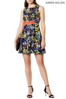 Karen Millen Blue Sporty Floral Print Dress