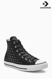 Converse Black Leather Stud Hi Top