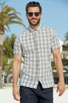 Short Sleeve Textured Check Shirt