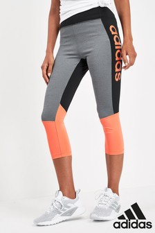 adidas D2M Black/Orange Linear 3/4 Leggings