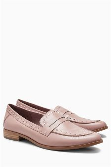 Stud Detail Leather Loafers
