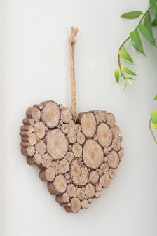Wooden Effect Heart Hanging Decoration