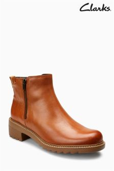 Bottines Clarks Youth Frankie Roam en cuir fauve zippées