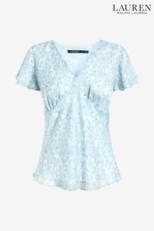 Lauren Ralph Lauren Blue Crinkle Top