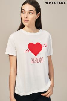 Whistles White Merci Heart Tee