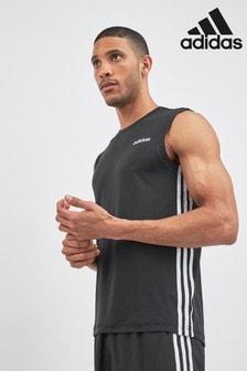 גופיה עם שלושה פסים של adidas, דגם D2M בצבע שחור