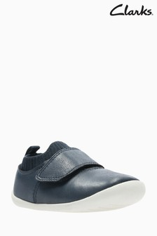Clarks Navy Leather Roamer Seek Pre Walker Shoes