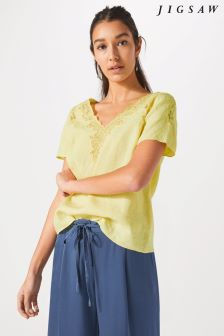 Jigsaw Yellow Linen Floral Embroidered Top