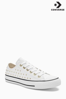 Converse White/Gold Leather Stud