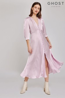 Ghost London Purple Madison Satin Dress