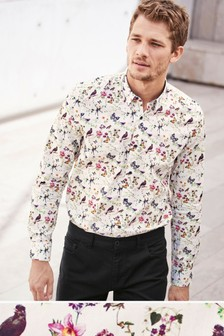 Long Sleeve Bird Print Shirt