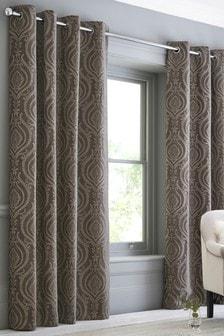 Бархатные жаккардовые шторы с лиственным рисунком в восточном стиле и люверсами