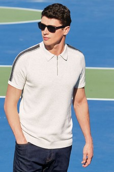 Knitted Overarm Stripe Polo