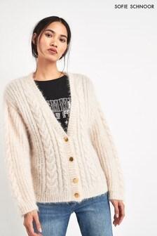 Sofie Schnoor Cream Metallic Thread Cardigan