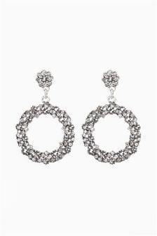 Jewelled Flower Effect Drop Earrings