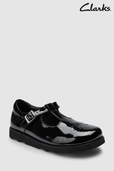 Clarks Black Patent Leather Crown Wish T-Bar Shoe