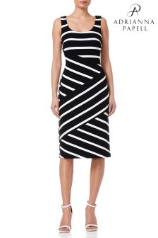 Adrianna Papell Black Ottoman Striped Sheath Dress