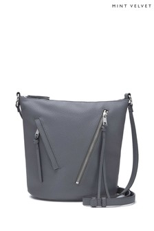 Mint Velvet Grey Eden Steel Zip Bucket Bag